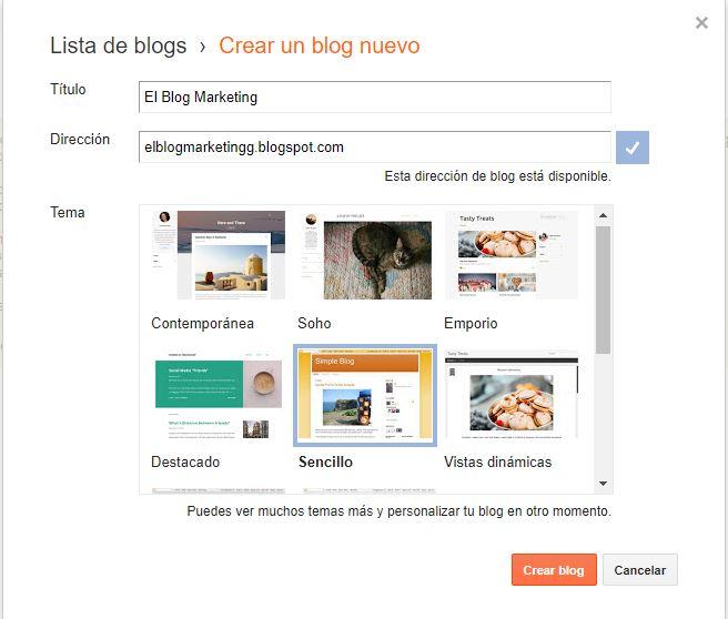 elegir preferencias en blogger