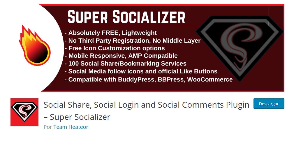 Super Socializer Plugin Redes Sociales