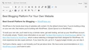 Backend de la publicación de blog de WordPress