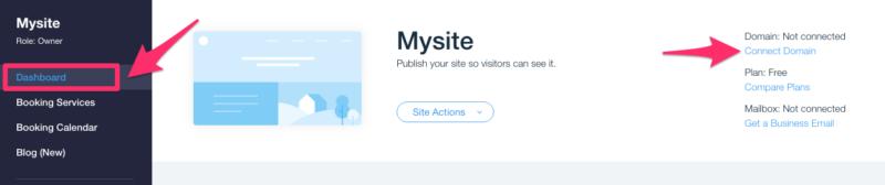 Conectar el dominio al sitio web de Wix