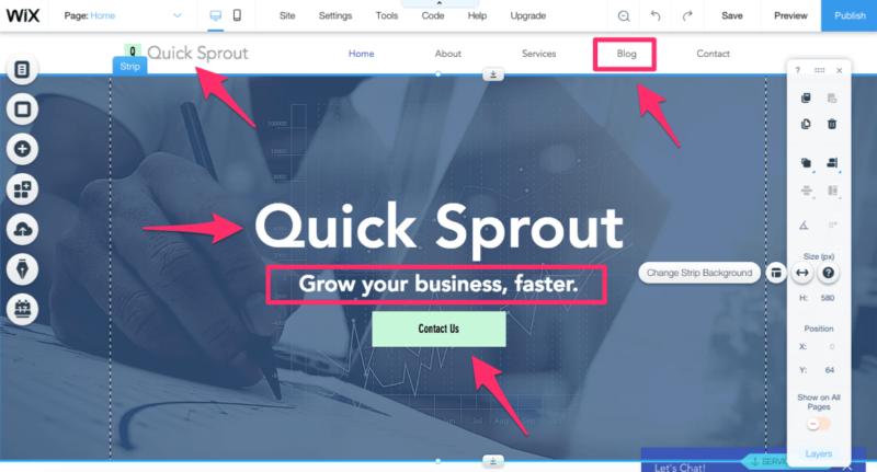 Crear una página de ejemplo de Wix Website