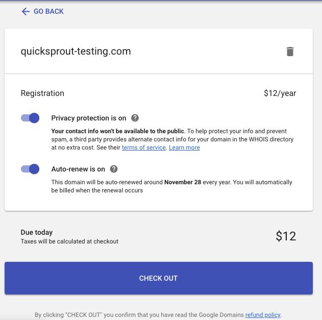 Protección de privacidad de dominio de Google y renovación automática en