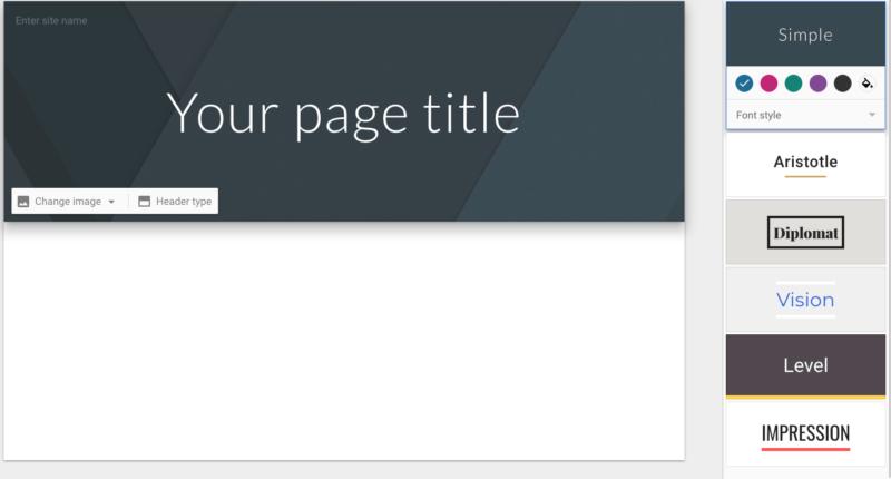 Los seis temas disponibles en Google Sites.