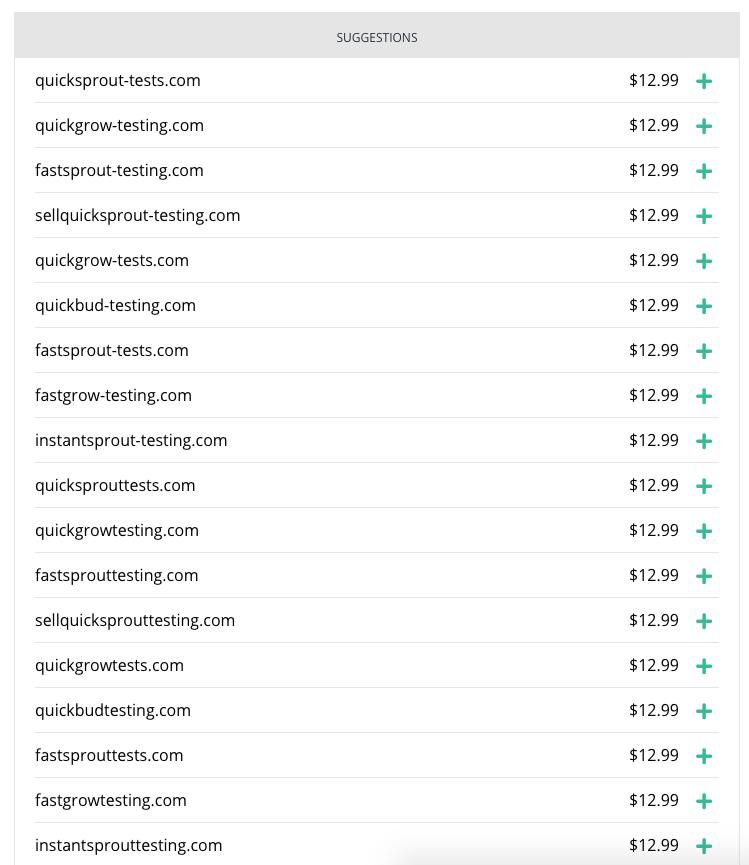 Hover sugerencias de nombres de dominio