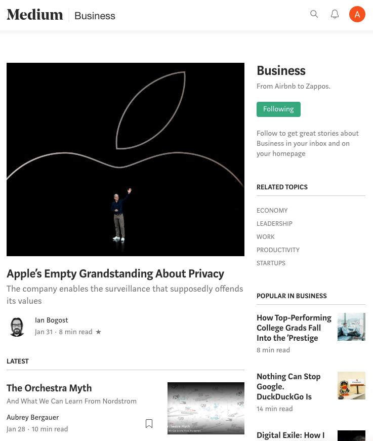 Página de categoría media