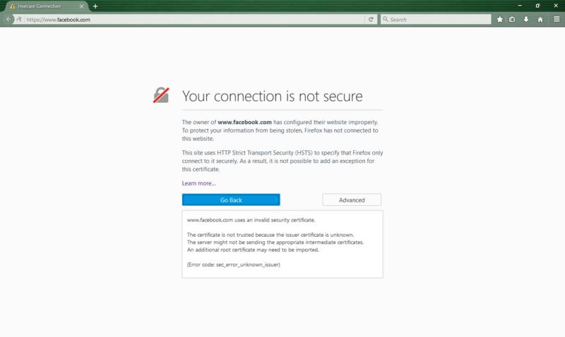 Una advertencia de conexión no segura de Mozilla