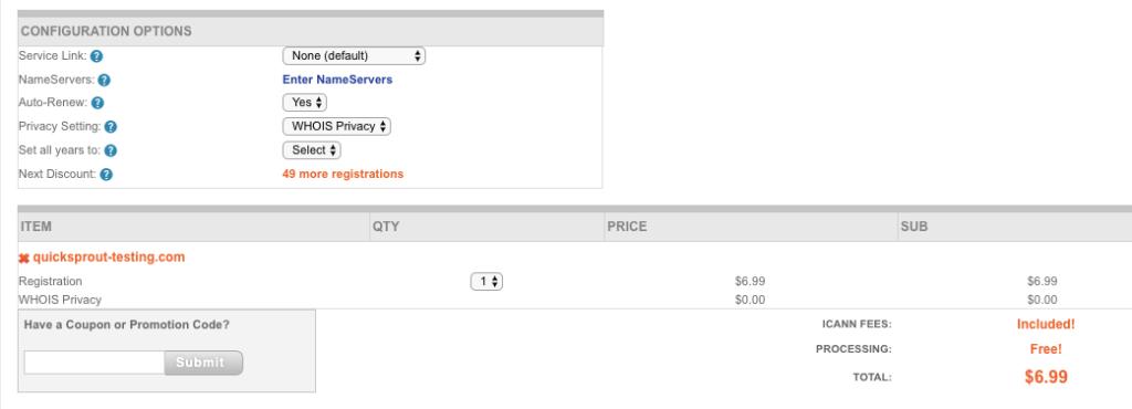 Pantalla de verificación de NameSilo al comprar un nombre de dominio