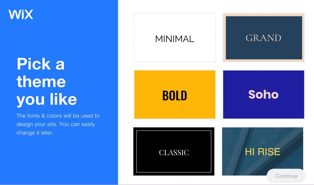 Wix elige el estilo de tu sitio web