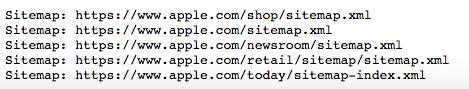 archivos de sitemap de Apple