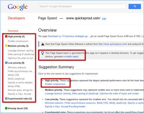 velocidad de la página de google