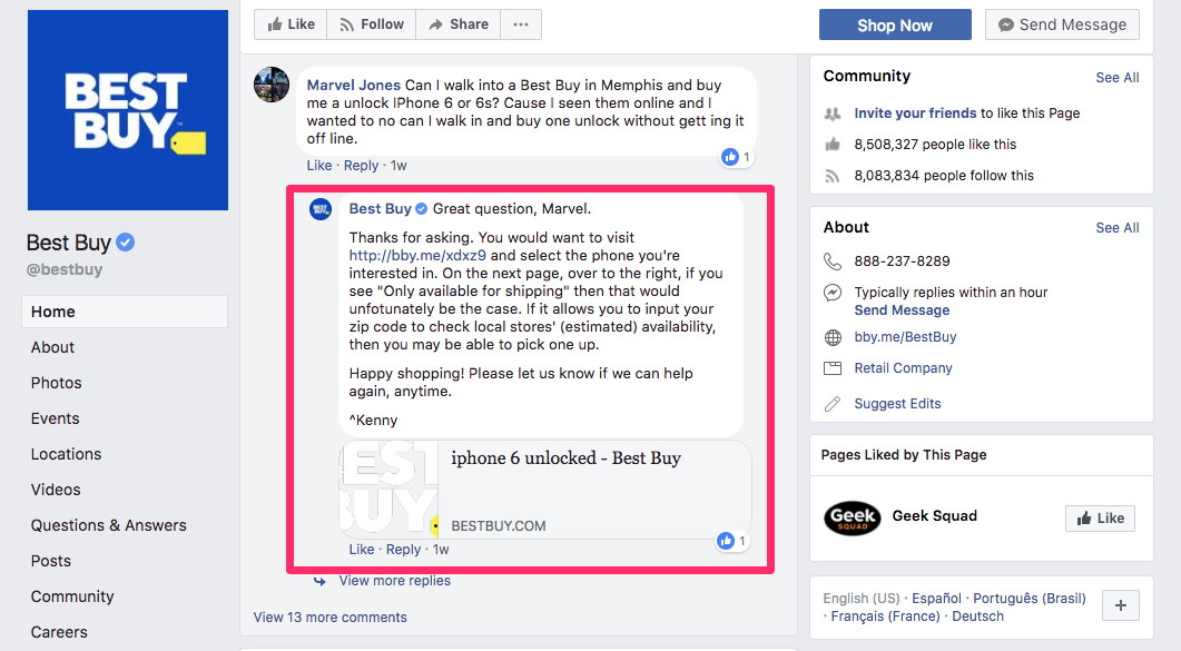 Pagina de facebook de best buy