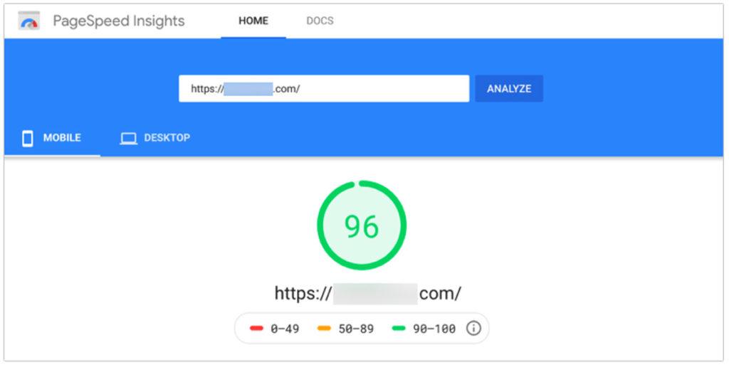 PageSpeed Insights para dispositivos móviles con una puntuación de 96